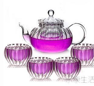 Transparent heat-resistant glass tea pot filter flower pot flower material striped fruit tea pot teapot pumpkin pot plants-ZZKKO