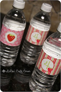 Strawberry Shortcake party bottle labels printables by www.itsybelle.com