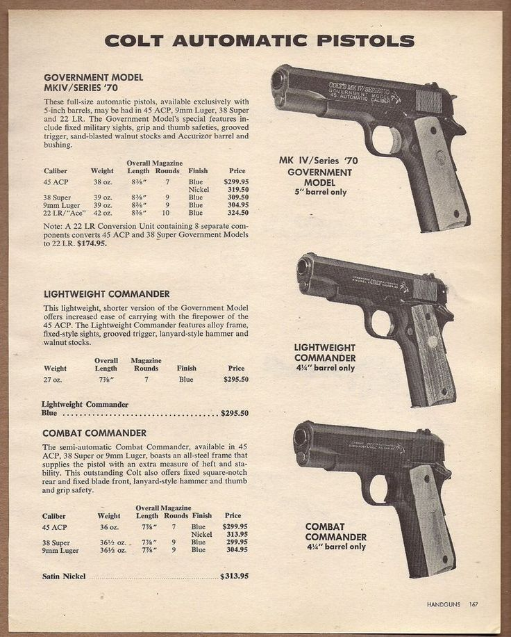1981 COLT Government MKIV Series 70 45 ACP 7 Commander & Combat PISTOL AD… Save those thumbs & bucks w/ free shipping on this magloader I purchased mine http://www.amazon.com/shops/raeind  No more leaving the last round out because it is too hard to get in. And you will load them faster and easier, to maximize your shooting enjoyment.