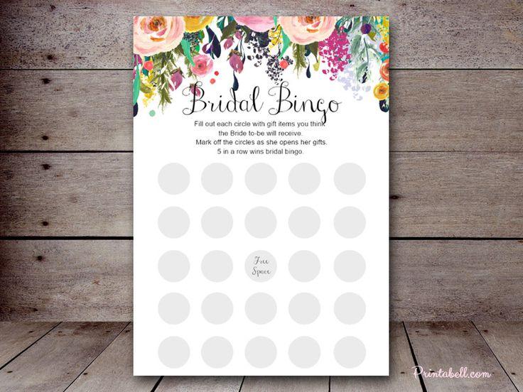 editable bridal shower games SN34b 5″x7″ Floral Chic – Printabell #printabell #bridalshower bridal bingo