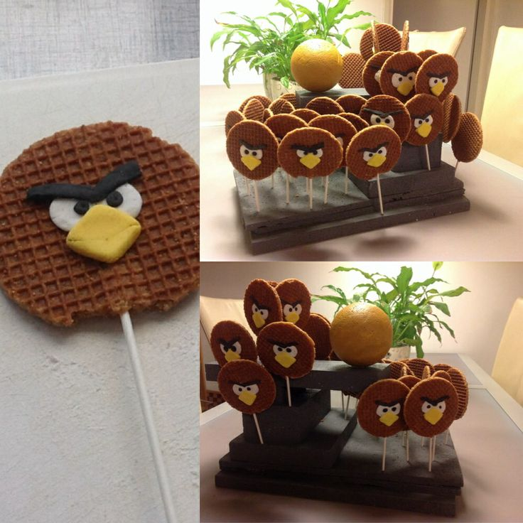 Angry Birds stroopwafel traktatie Check http://www.mamaweetjes.nl/tips-trics/school-traktatie-maken-de-26-leukste-ideeen/ voor meer traktatie ideeën!