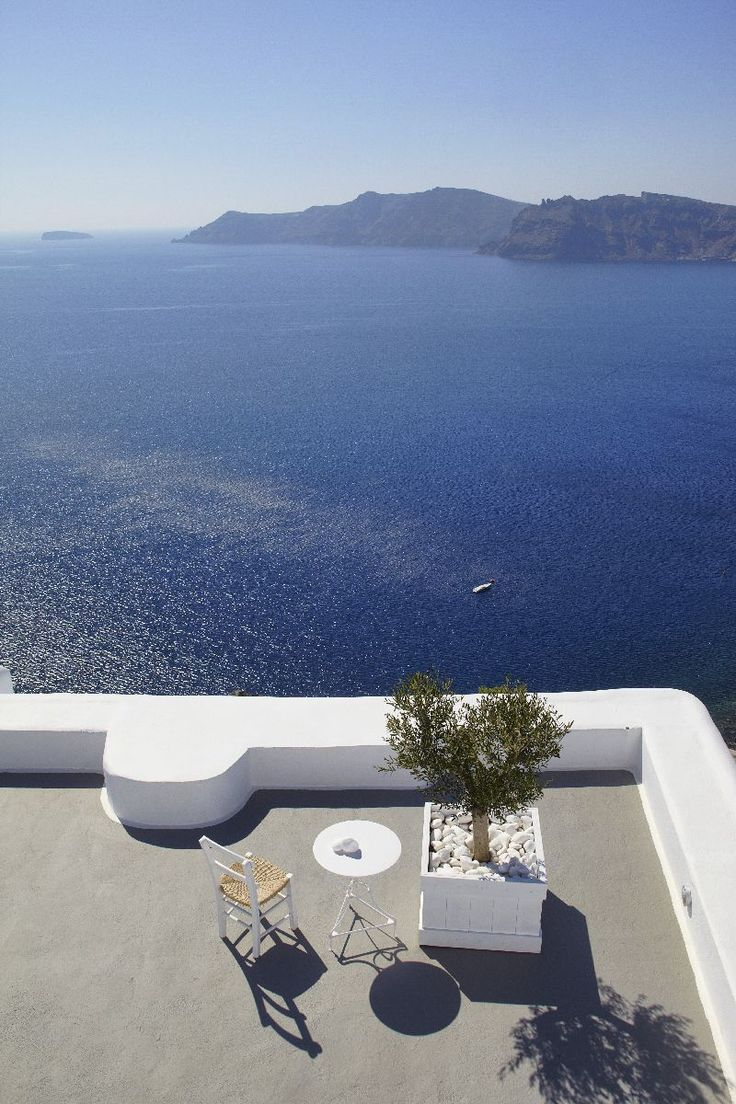Relais & Chateaux - Kirini Suites & Spa - Greece.  Imagine a rhapsody in blue and white, the Cycladic architectural tradition hand by hand with the contemporary good life, a parade of Greek flavours at its best ceremonial starring and a set of romantic sunsets over the volcano of Santorini. Combine all together and you are at Kirini Suites & Spa.   #greece #relaischateaux #paradise #sea