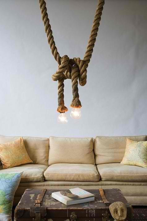 Lightrope: Lamps, Idea, Living Rooms, Lights Fixtures, Trav'Lin Lights, Interiors Design, Memorial Tables, House, Ropes Lights