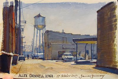 Grinnell, Iowa, 5x8 inches, gouache by James Gurney