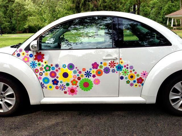 Hippy flower power vinyl vw stickers funky decals jpg 640x480