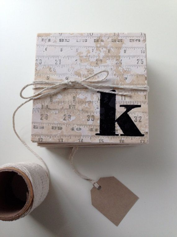 Vintage rulers are so neat. Now you can have them on your tile coasters with your own initial.