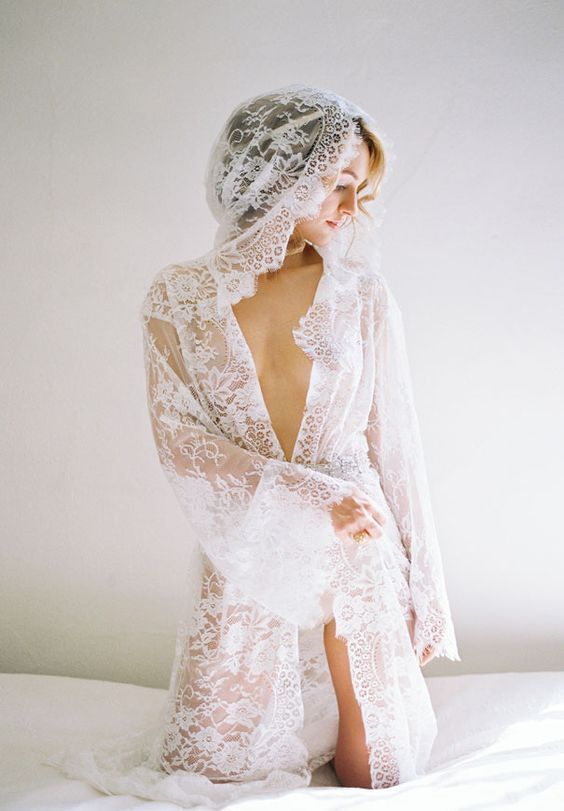 40eb2d740 a long Chantilly lace bridal robe with long bell sleeves and a hood looks  creative and sexy