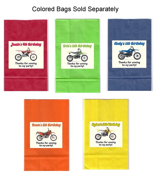 Dirt Bike Birthday Party Goodie Loot Bag Labels Favors