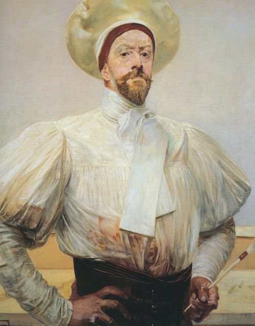 Jacek Malczewski, Self Portrait in White Dress