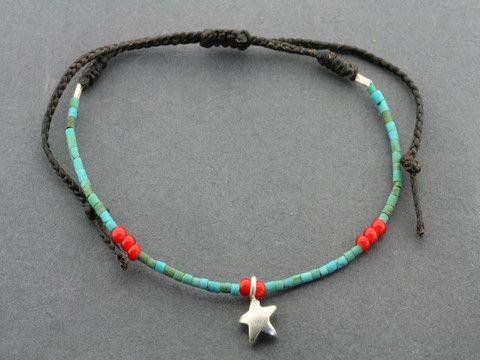 turquoise bead bracelet - star