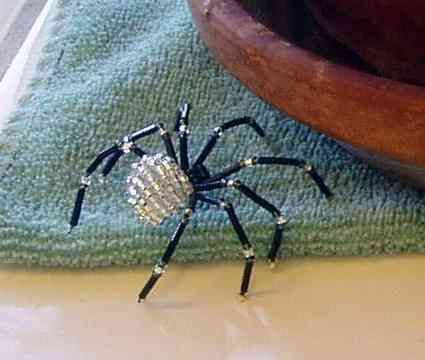 "Beaded spider from ""Bead n Bugs"" - retail price $17.95 at beadnbug.com."