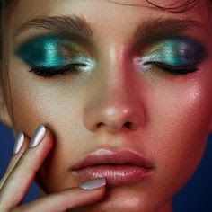 Image result for seventies disco makeup purple green