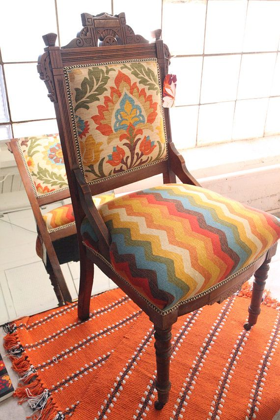 Upholstered in Waverly fabric. Very Mexican, southwest feel to it. Vintage Antique  Eastlake - 47 Best Eastlake Images On Pinterest Victorian Furniture