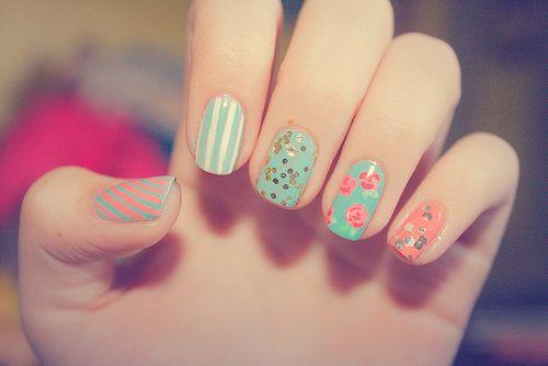 I WILL DO THIS (:Nails Art, Nailart, Cute Nails, Nails Design, Spring Nails, Pretty Nails, Pastel Nails, Nails Polish, Vintage Nails
