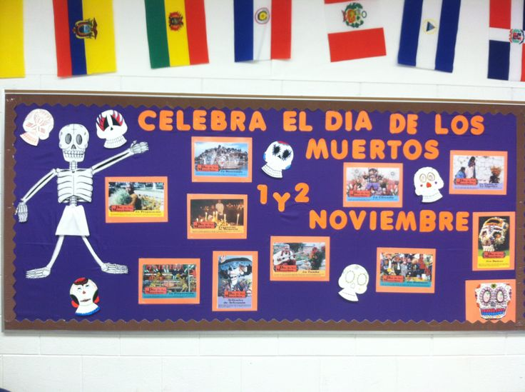 Spanish 1 Classroom Decorations ~ My day of the dead bulletin board i spanish