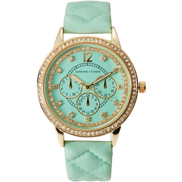 Adrienne Vittadini AD11047 Gold-Tone & Mint Watch ($25) ❤ liked on Polyvore featuring jewelry, watches, adrienne vittadini jewelry, gold tone jewelry, mint green watches, quartz movement watches and mint jewelry
