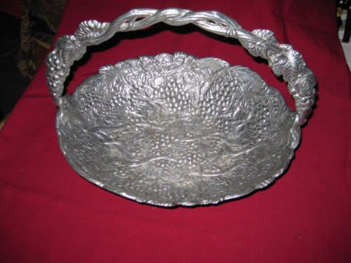 pewter arthur court bowl basket signed grape baskets collectibles handle etched movable raised irish