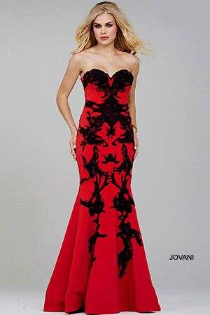 Red/Black Strapless Mermaid Prom Dress 29031