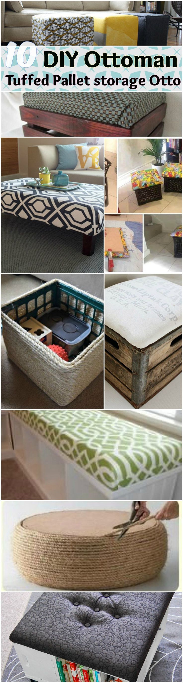DIY Storage Ottoman Ideas from Recycle Crates and Pallets. Easy Homemade Tufted upholster cushion Storage Ottoman from scratch. made with recycled items , crates and pallets. And some Round tire ottoman.