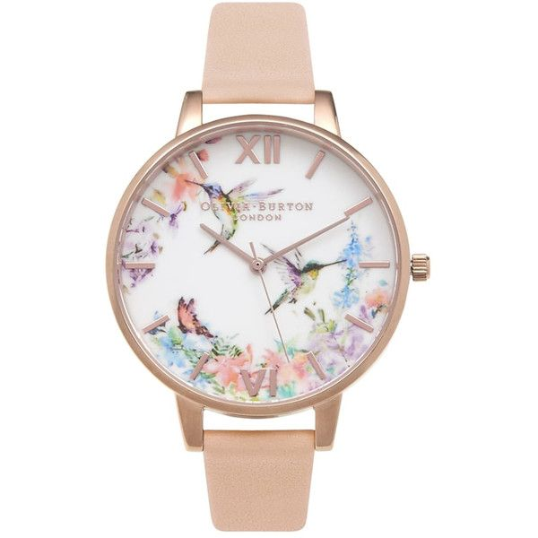 Olivia Burton Painterly Prints Hummingbird Watch - Peach & Rose Gold ($115) ❤ liked on Polyvore featuring jewelry, watches, peach jewelry, olivia burton, quartz movement watches, rose gold watches and rose gold wrist watch
