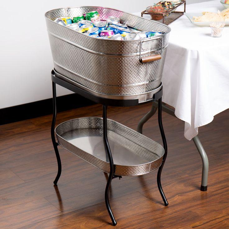 New at WebstaurantStore: Tablecraft Brickhouse 12.75 Gallon Stainless Steel Beverage Tub Set with Stand