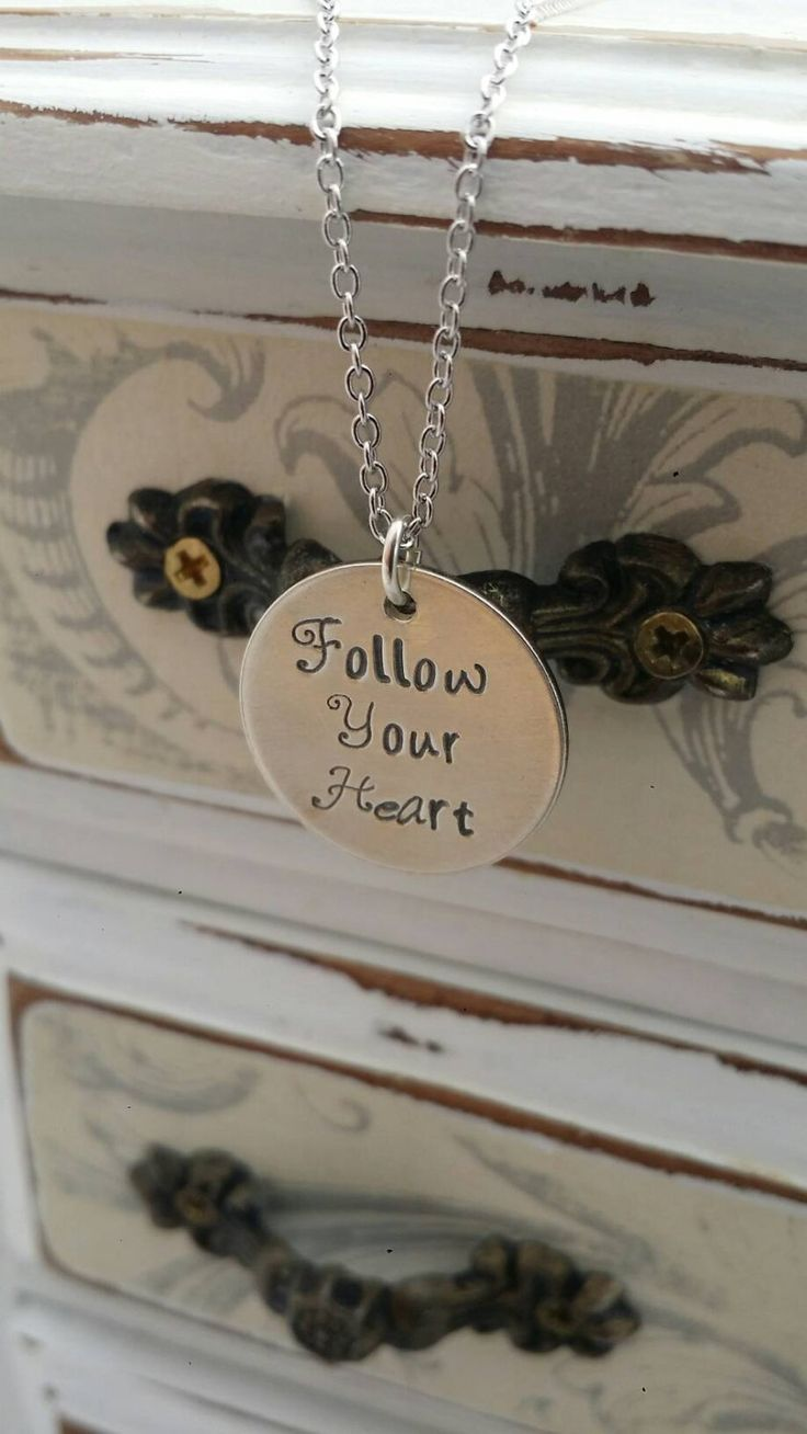 Inspirational necklace, follow your heart, hand stamped sterling silver necklace, finding yourself, sweet 16 gift by CharitysCase on Etsy