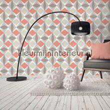 Zweedse ruiten rood grijs behang 51144010 Grafisch - Abstract Noordwand