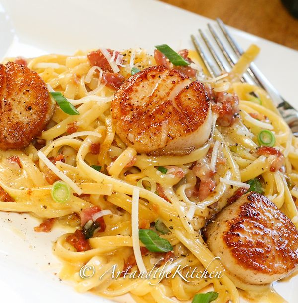 Carbonara with Pan Seared Scallops Recipe Main Dishes with scallops, scallops…