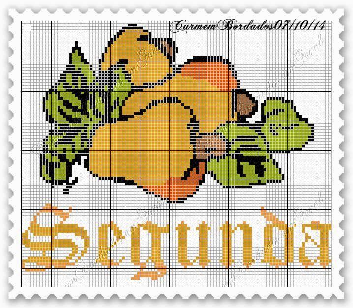 Ponto cruz: Semaninha gráficos ponto cruz frutas