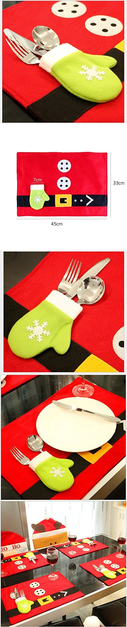 Table Mat,Homecube Christmas Snowmen and Elk Table Mats Placemats Napkins Decor Cover for Kitchen Holiday Party Home,Pack of 4