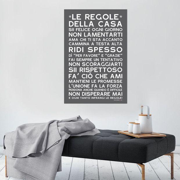Le Regole della Casa, fond ardoise, sticker mural, version italienne, Mes Mots Déco