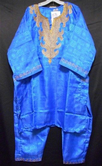African Men Pant Suit Ethnic Clothing Cultural Pant Suit One Size Blue Gold #Unbranded #TraditionalPantSuit #CasualPartywear