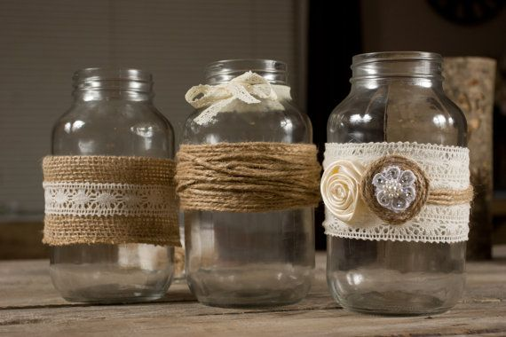 Country Rustic Wedding Mason Jar Wraps with Burlap and Lace Set of 12