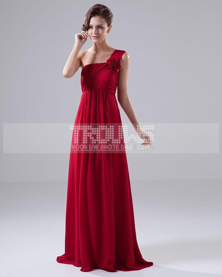 Bruidsmeisjes-een schouder bloem ruche chiffon vloerlengte bruidsmeisje jurk