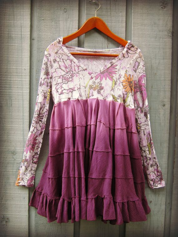 Hoodie Upcycled Purple Ombre Bohemian Tunic Top // by emmevielle