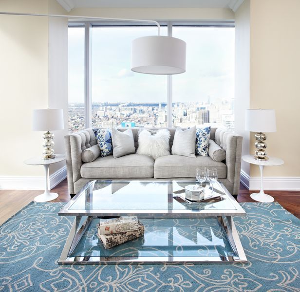 Living Room Table Toronto: Contemporary Condo Living Room With Overhang Floor Lamp