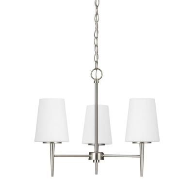 Sea Gull Lighting Driscoll 3-Light Brushed Nickel Chandelier with LED Bulbs