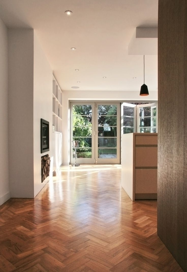 oxford side extension with leicht kitchen herring bone parquet and Nigel Slater inspired folding doors