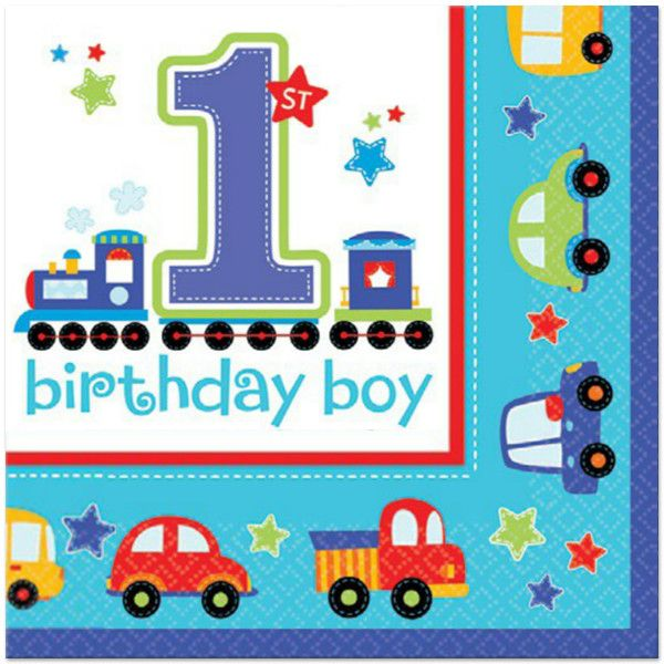 Don't forget to add these colorful 2-ply All Aboard lunch napkins to your little guy's 1st birthday party. Each napkins unfolds to 13'' x 13'' and is decorated in blue with cars and trucks surrounded