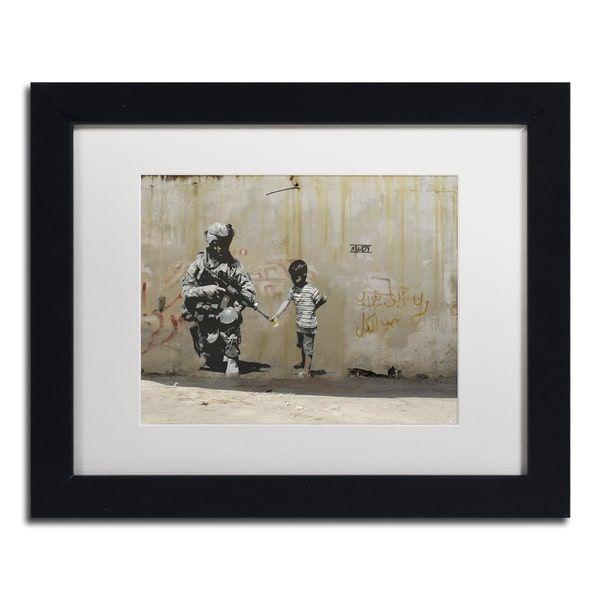Banksy 'Peace' White Matte, Black Framed Wall Art