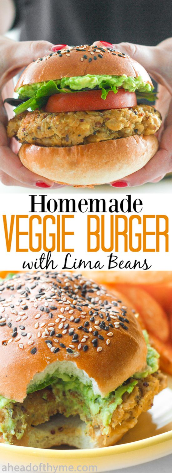 Homemade Veggie Burger with Lima Beans: You don't need to be vegetarian to enjoy a protein-packed, juicy and flavourful homemade veggie burger with lima beans. | aheadofthyme.com via @Sam | Ahead of Thyme