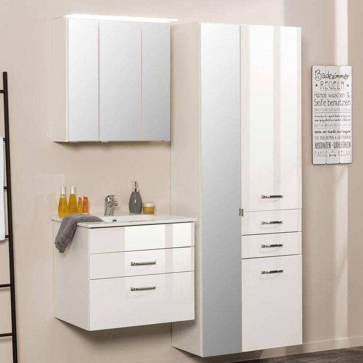 Badezimmermöbel Set In Weiß Hochglanz 3D Spiegelschrank (3 Teilig) Jetzt  Bestellen Unter: