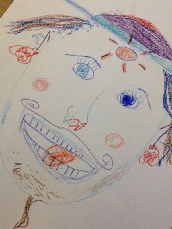 Oefening masker schets vrolijk, Yannick, Noëlla, Kim en ik moesten een schets van een gezicht maken met als emotie vrolijk.