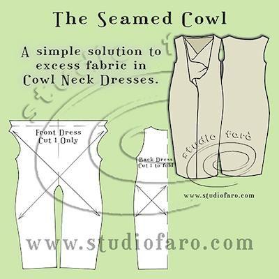 Get that #CowlDrape under control! #PatternPuzzle - The Seamed Cowl Dress http://www.studiofaro.com/well-suited/pattern-puzzle-the-seamed-cowl-dress #PatternMakingInstructions
