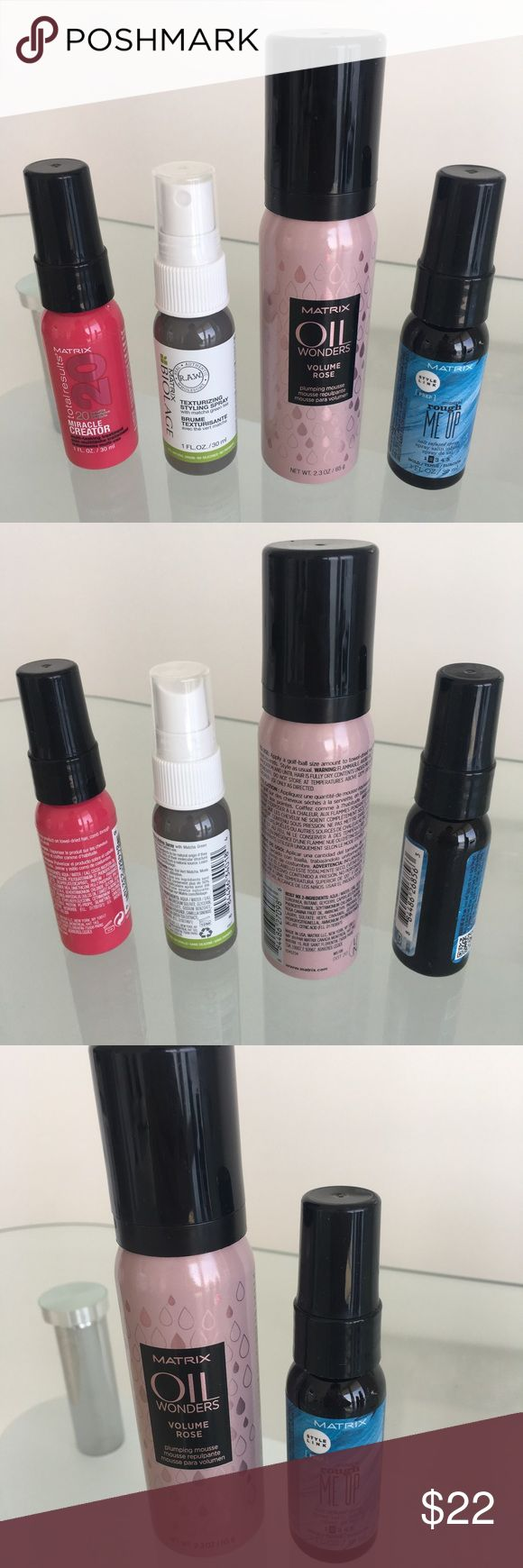 MATRIX Travel Size Set BRAND NEW! Never used!  Includes travel sizes:  20 miracle creator (1 fl oz) Texturizing Styling Spray (1 fl oz) Matrix Oil Wonders Plumping Mousse (2.3 fl oz) Rough Me Up Salt Infused Spray (1 fl oz) MATRIX Makeup