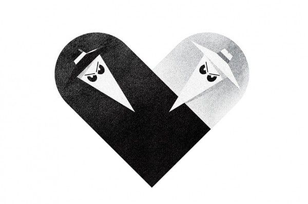 spy vs spy heart illustration twisted fork design
