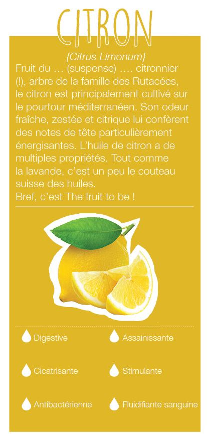 Fruit du citronnier, arbre de la famille des Rutacées, cultivé en Italie, Espagne et France. Son odeur a des notes de tête, une odeur fraîche, zestée et citrique. Elle a une action antinauséeuse, tonique et assainit l'air.