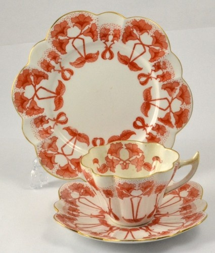 SHELLEY WILEMAN FOLEY ART NOUVEAU ON SNOWDROP PORCELAIN TRIO CUP, SAUCER & PLATE