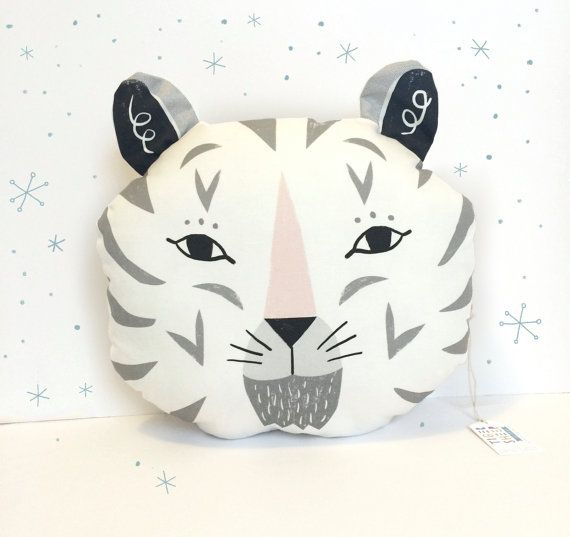 Snow Tiger Decorative Pillow /black grey and by Tigersheepfriends