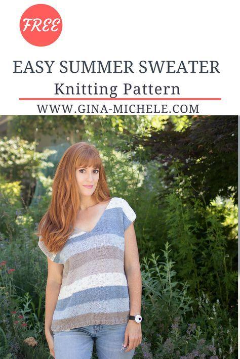 Easy Summer Sweater Knitting Pattern Knit Sweater Patterns